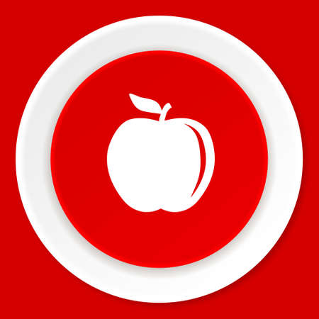 apple red: apple red flat design modern web icon