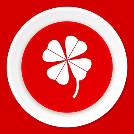 red clover: four-leaf clover red flat design modern web icon Stock Photo