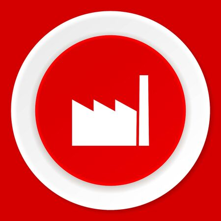 industrial complex: factory red flat design modern web icon
