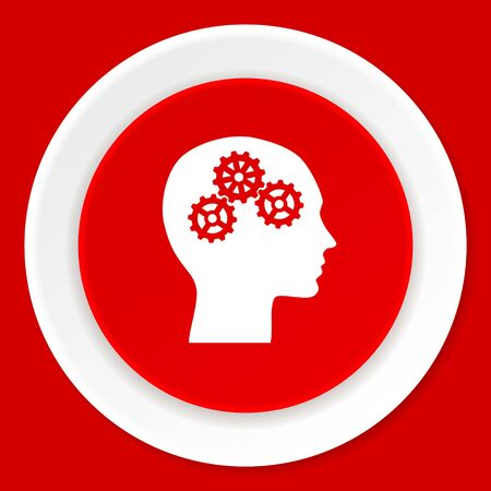 brainy: head red flat design modern web icon Stock Photo