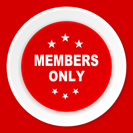 only members: members only red flat design modern web icon