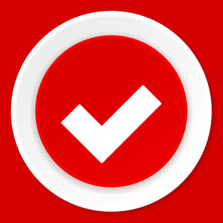 accept icon: accept red flat design modern web icon Stock Photo
