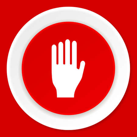 stop red flat design modern web icon Stock Photo