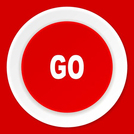 proceed: go red flat design modern web icon Stock Photo