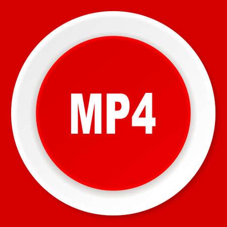 mp4: mp4 red flat design modern web icon