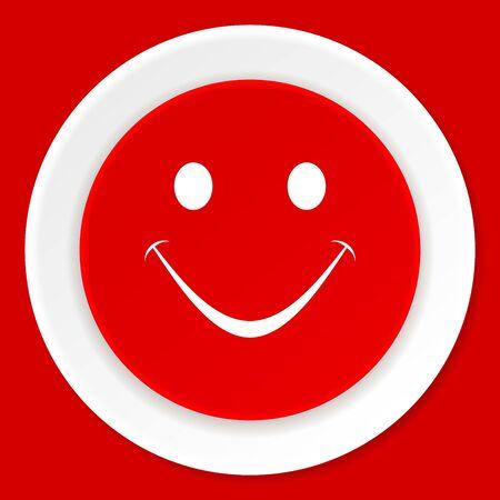 yea: smile red flat design modern web icon Stock Photo