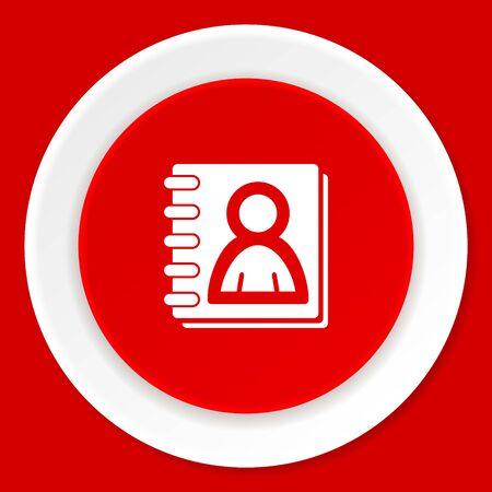 web address: address book red flat design modern web icon