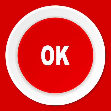 yea: ok red flat design modern web icon