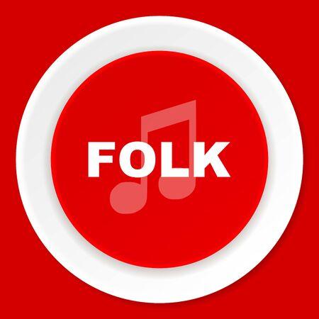 folk music: folk music red flat design modern web icon Stock Photo
