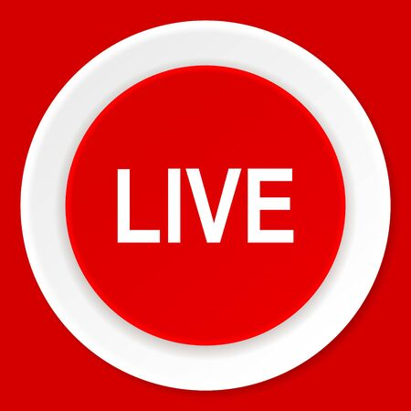 live stream movie: live red flat design modern web icon