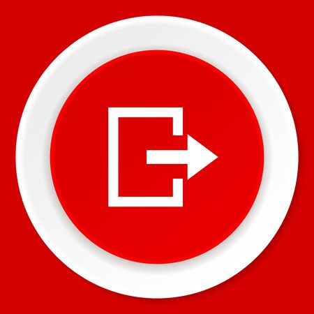 way out: exit red flat design modern web icon