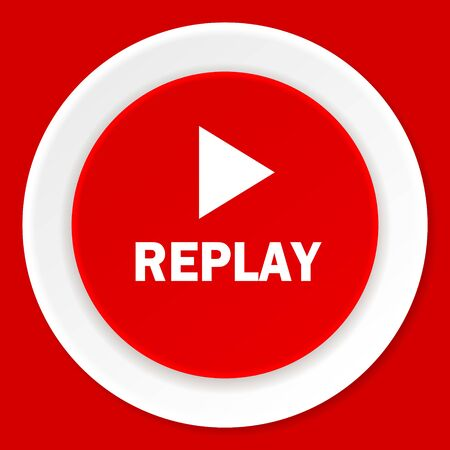 proceed: replay red flat design modern web icon