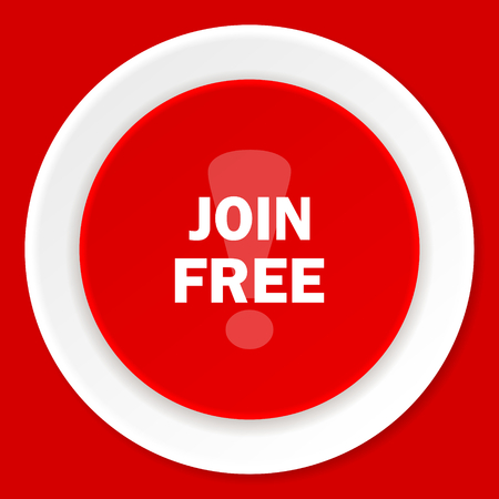 icon red: join free red flat design modern web icon Stock Photo