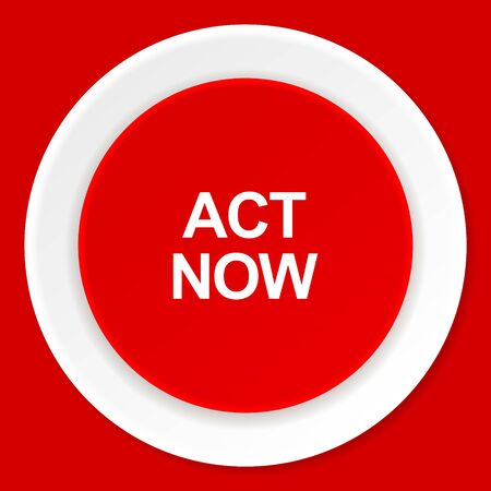 act: act now red flat design modern web icon