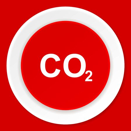 carbon dioxide: carbon dioxide red flat design modern web icon Stock Photo