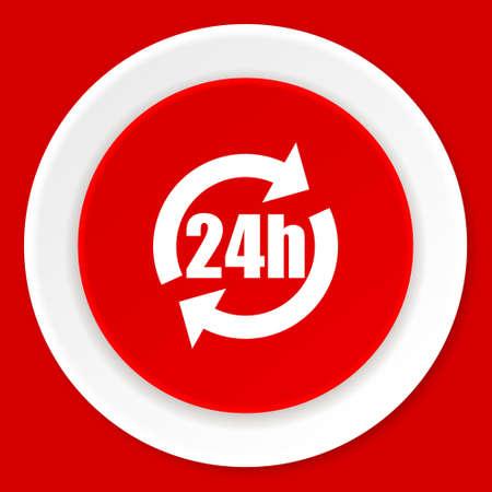 24h: 24h red flat design modern web icon