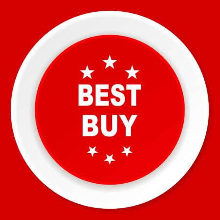 best buy: best buy red flat design modern web icon