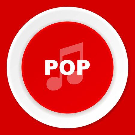pop music: pop music red flat design modern web icon
