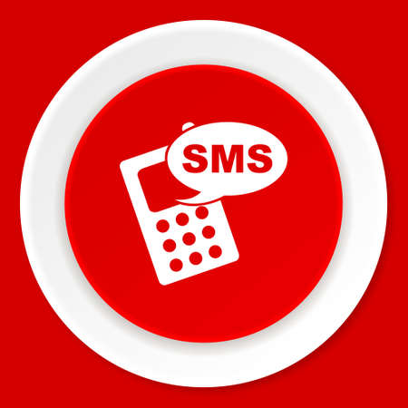 reading app: sms red flat design modern web icon