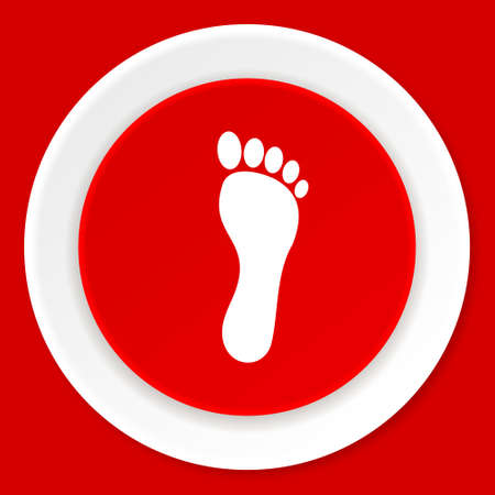 orthopedics: foot red flat design modern web icon