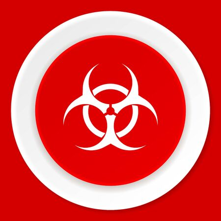 bacterioa: biohazard red flat design modern web icon