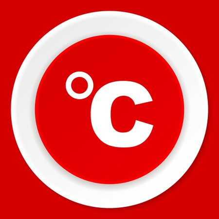 celsius: celsius red flat design modern web icon Stock Photo