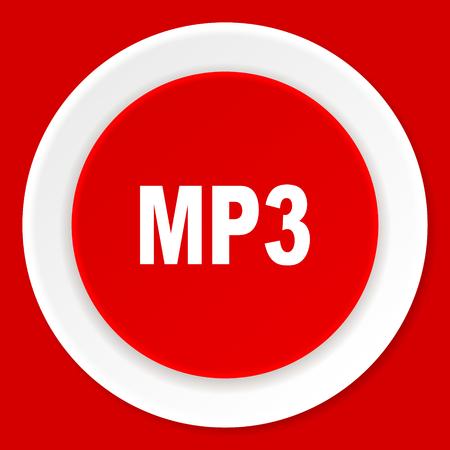 mp3: mp3 red flat design modern web icon