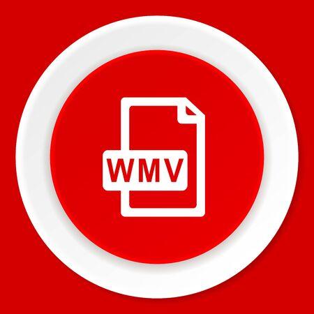 wmv: wmv file red flat design modern web icon