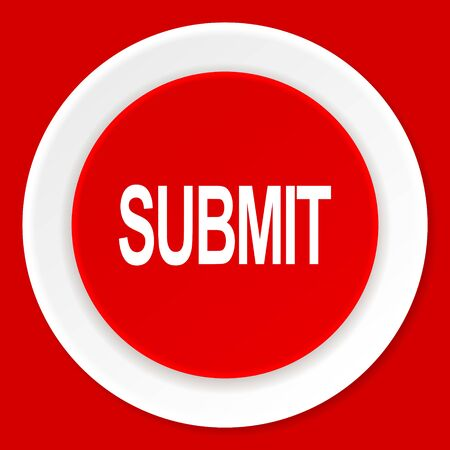 submission: submit red flat design modern web icon Stock Photo