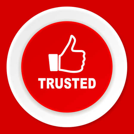 trusted: trusted red flat design modern web icon Stock Photo
