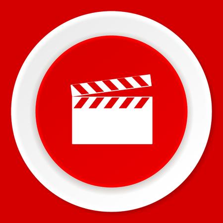 watch movement: video red flat design modern web icon