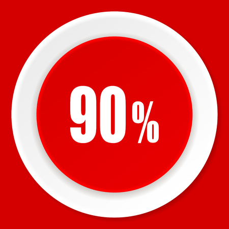 90: 90 percent red flat design modern web icon Stock Photo