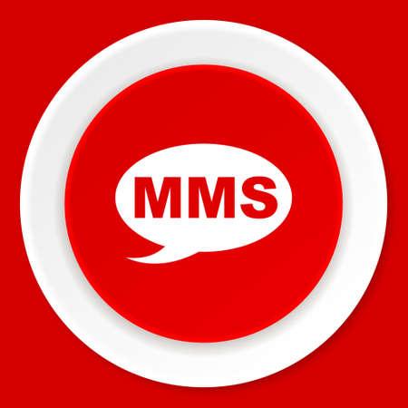 mms: mms red flat design modern web icon