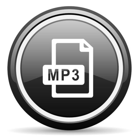 mp3: mp3 file black circle glossy web icon