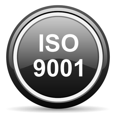 din: iso 9001 black circle glossy web icon