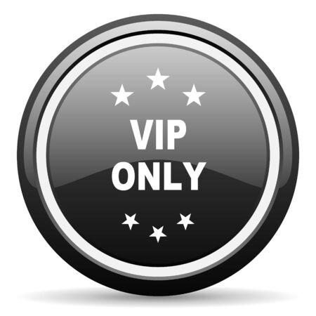 privilege: vip only black circle glossy web icon
