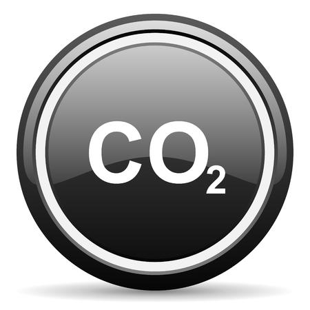 carbon emission: carbon dioxide black circle glossy web icon