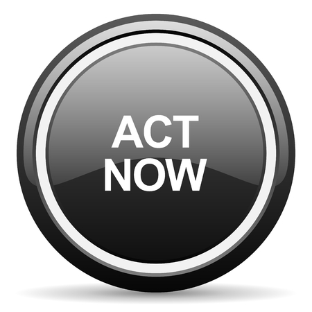 act: act now black circle glossy web icon