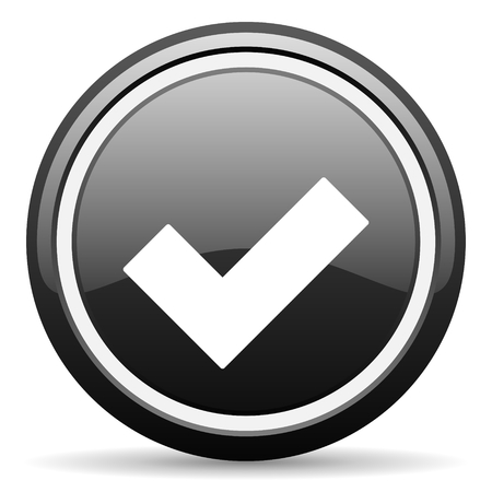 yea: accept black circle glossy web icon