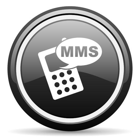 mms: mms black circle glossy web icon