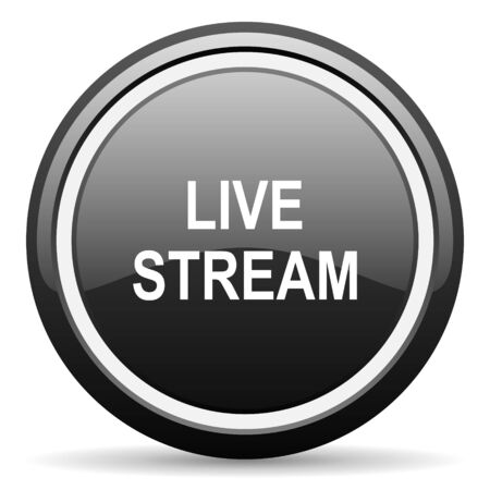 live stream: live stream black circle glossy web icon