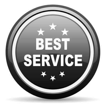best service: best service black circle glossy web icon Stock Photo