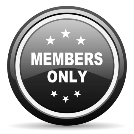 members only: members only black circle glossy web icon