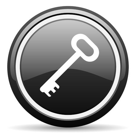 secret codes: key black circle glossy web icon