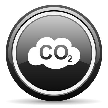 dioxide: carbon dioxide black circle glossy web icon