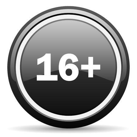 adults: adults black circle glossy web icon Stock Photo
