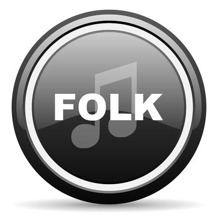 folk music: folk music black circle glossy web icon
