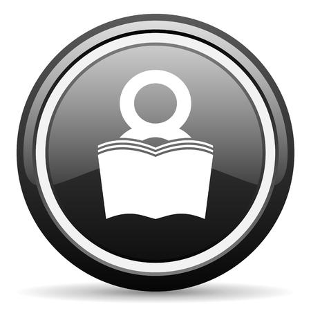 bibliophile: book black circle glossy web icon