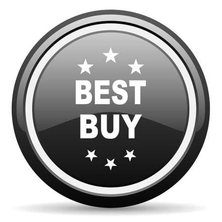 best buy: best buy black circle glossy web icon Stock Photo