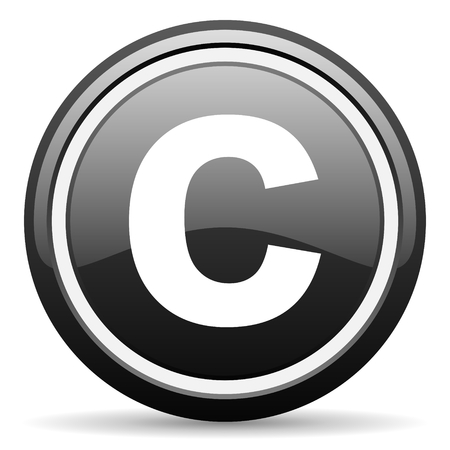 patent key: copyright black circle glossy web icon Stock Photo